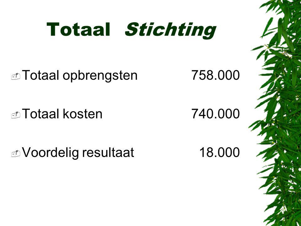 Totaal Stichting  Totaal opbrengsten758.000  Totaal kosten740.000  Voordelig resultaat 18.000