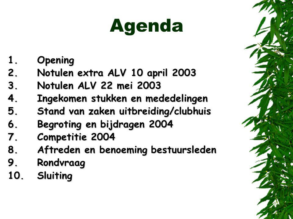 Agenda 1.Opening 2.Notulen extra ALV 10 april 2003 3.Notulen ALV 22 mei 2003 4.Ingekomen stukken en mededelingen 5.Stand van zaken uitbreiding/clubhui