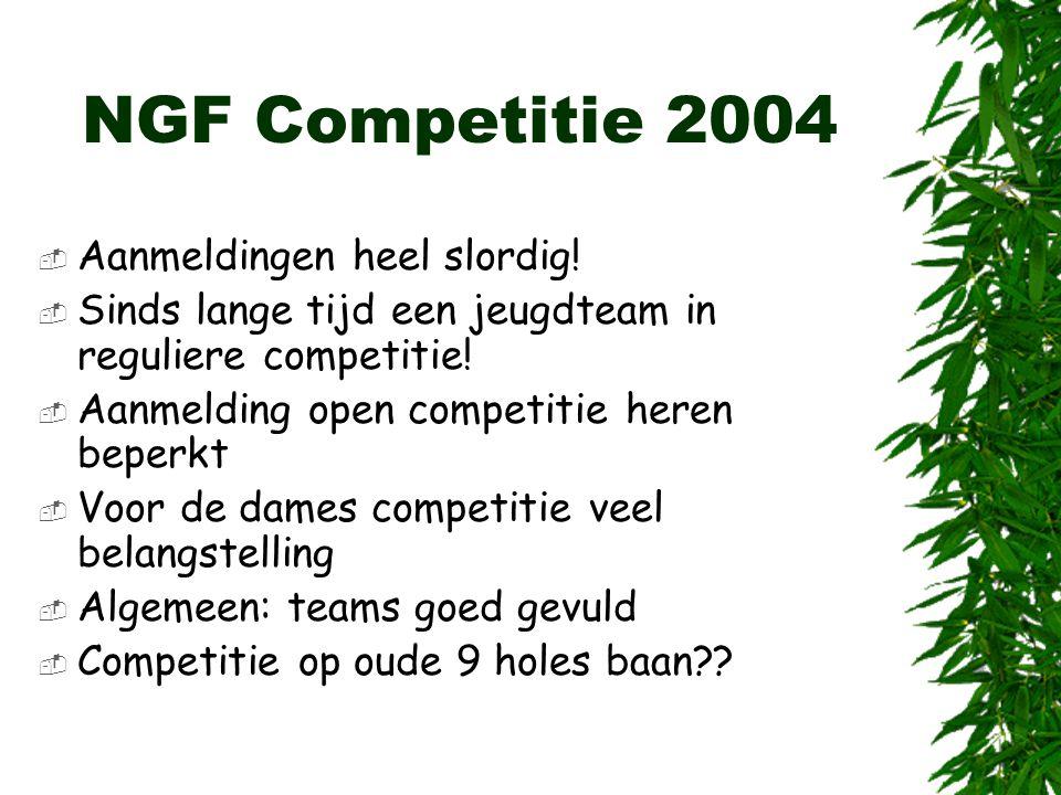 NGF Competitie 2004  Aanmeldingen heel slordig!  Sinds lange tijd een jeugdteam in reguliere competitie!  Aanmelding open competitie heren beperkt