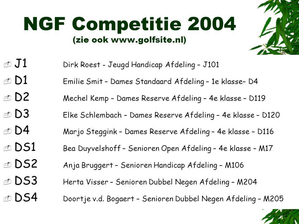 NGF Competitie 2004 (zie ook www.golfsite.nl)  J1 Dirk Roest - Jeugd Handicap Afdeling – J101  D1 Emilie Smit – Dames Standaard Afdeling – 1e klasse