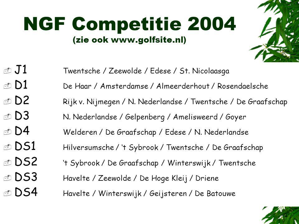 NGF Competitie 2004 (zie ook www.golfsite.nl)  J1 Twentsche / Zeewolde / Edese / St. Nicolaasga  D1 De Haar / Amsterdamse / Almeerderhout / Rosendae