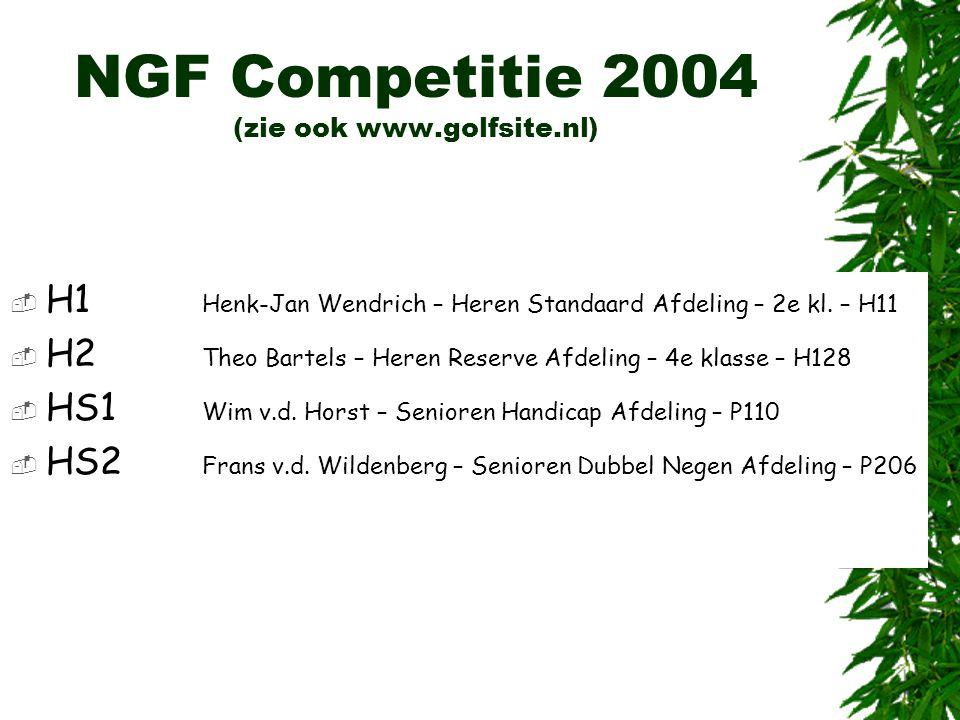 NGF Competitie 2004 (zie ook www.golfsite.nl)  H1 Henk-Jan Wendrich – Heren Standaard Afdeling – 2e kl. – H11  H2 Theo Bartels – Heren Reserve Afdel
