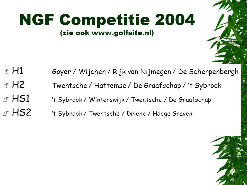 NGF Competitie 2004 (zie ook www.golfsite.nl)  H1 Goyer / Wijchen / Rijk van Nijmegen / De Scherpenbergh  H2 Twentsche / Hattemse / De Graafschap /
