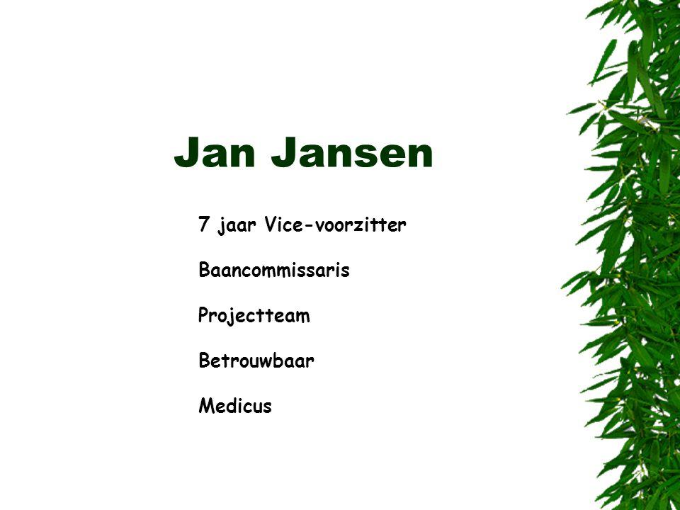 Jan Jansen 7 jaar Vice-voorzitter Baancommissaris Projectteam Betrouwbaar Medicus
