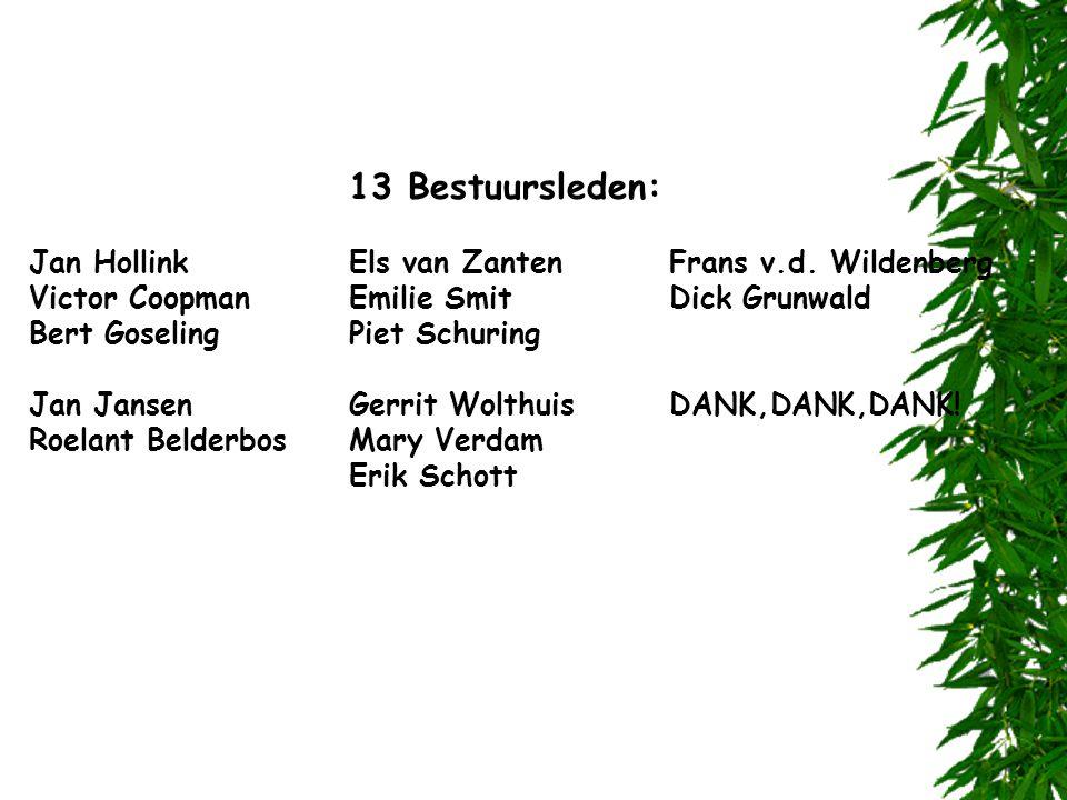 13 Bestuursleden: Jan HollinkEls van ZantenFrans v.d. Wildenberg Victor CoopmanEmilie SmitDick Grunwald Bert GoselingPiet Schuring Jan JansenGerrit Wo