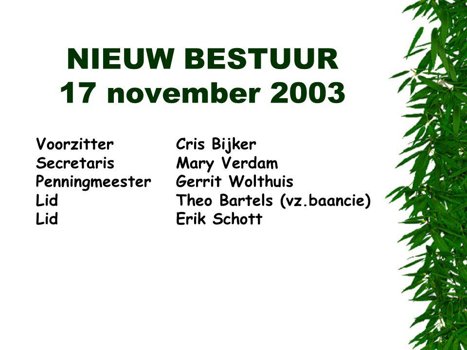 NIEUW BESTUUR 17 november 2003 VoorzitterCris Bijker SecretarisMary Verdam PenningmeesterGerrit Wolthuis LidTheo Bartels (vz.baancie) LidErik Schott
