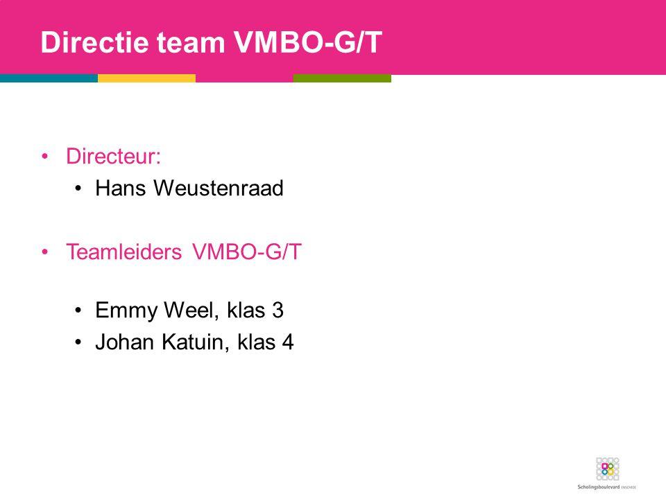 Directie team VMBO-G/T Directeur: Hans Weustenraad Teamleiders VMBO-G/T Emmy Weel, klas 3 Johan Katuin, klas 4