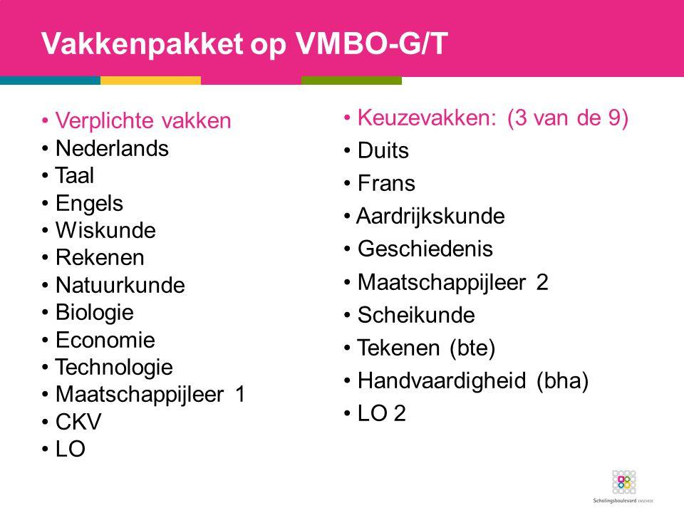 Vakkenpakket op VMBO-G/T Verplichte vakken Nederlands Taal Engels Wiskunde Rekenen Natuurkunde Biologie Economie Technologie Maatschappijleer 1 CKV LO