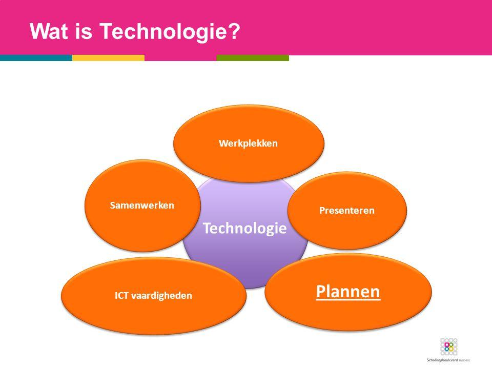 Wat is Technologie? Technologie WerkplekkenPresenteren Plannen ICT vaardigheden Samenwerken