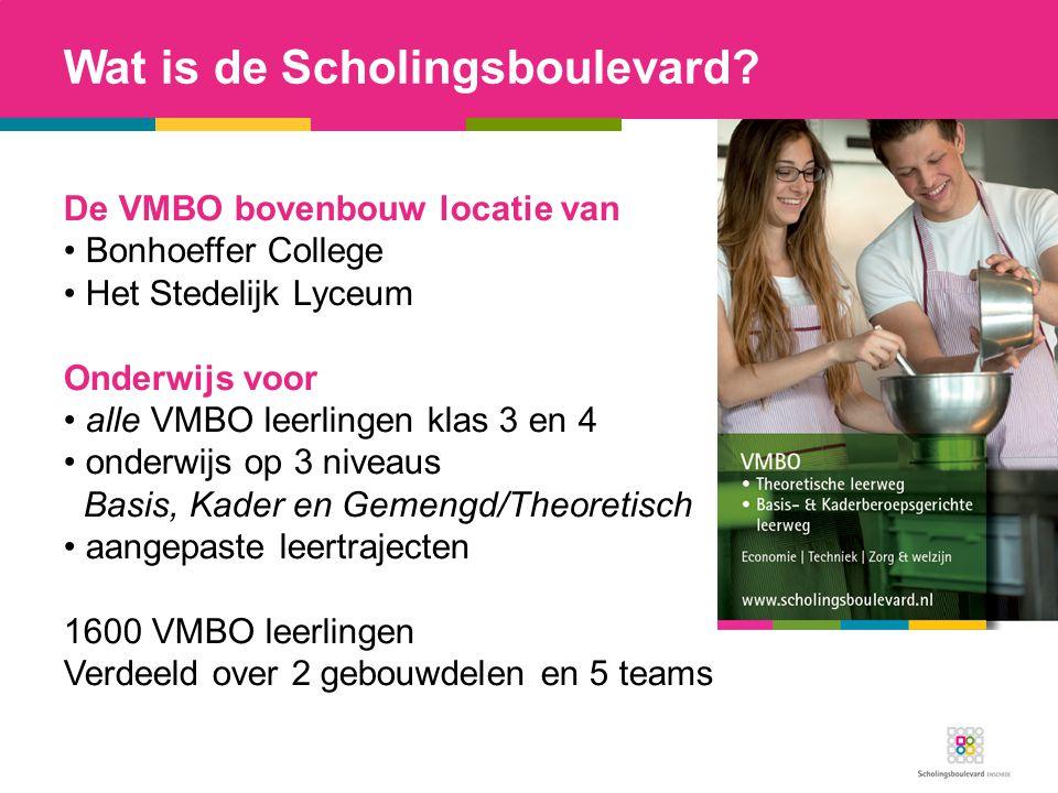 De VMBO bovenbouw locatie van Bonhoeffer College Het Stedelijk Lyceum Onderwijs voor alle VMBO leerlingen klas 3 en 4 onderwijs op 3 niveaus Basis, Ka