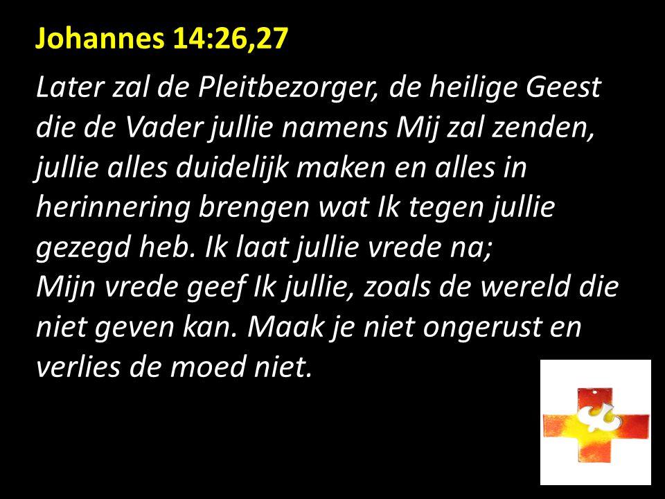 Johannes 14:26,27 Later zal de Pleitbezorger, de heilige Geest die de Vader jullie namens Mij zal zenden, jullie alles duidelijk maken en alles in her