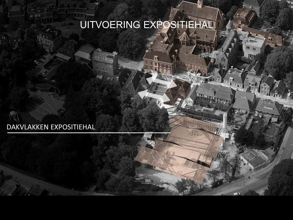 Ondergrondse uitbreiding: Doorgang onderlangs Kloosterstraat Beperkte massa bovengronds geëist Minimale hoogte expositiehal Integratie gebouw en landschap: Versmelting dakvlakken en tuin Verbinding gebouw en Singel Gouverneurstuin en museumtuin UITVOERING EXPOSITIEHAL