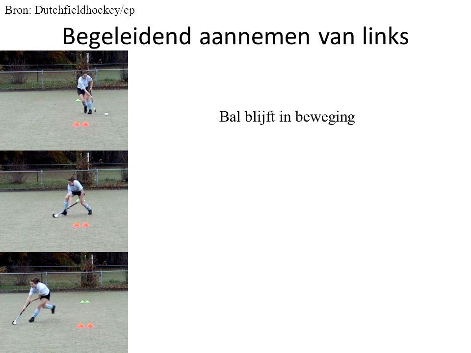 Begeleidend aannemen van links Bron: Dutchfieldhockey/ep Bal blijft in beweging