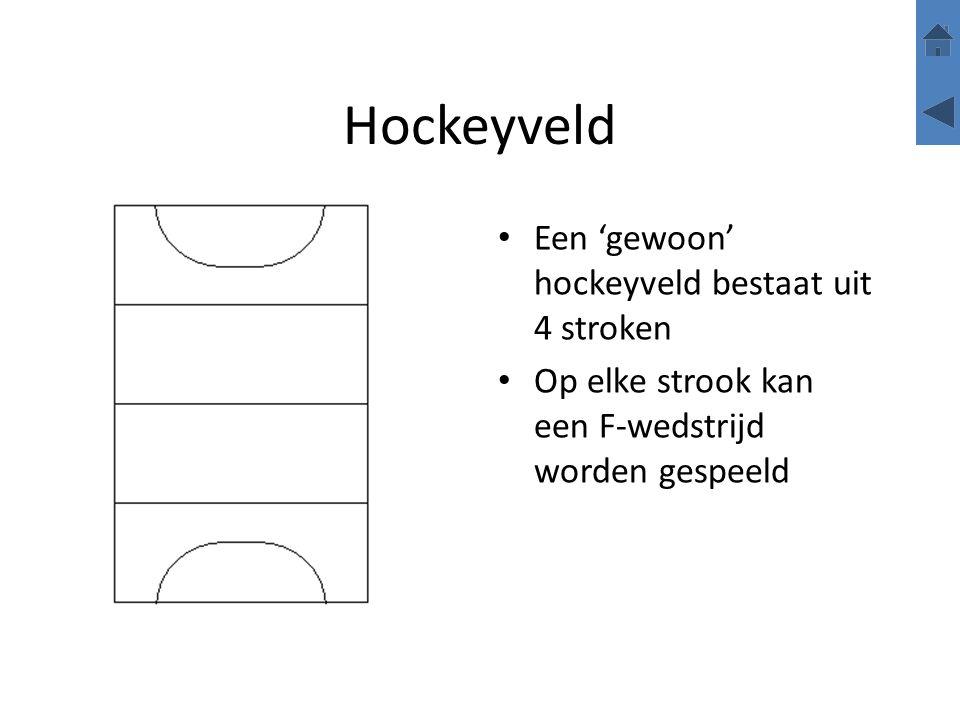 Hockeyveld Een 'gewoon' hockeyveld bestaat uit 4 stroken Op elke strook kan een F-wedstrijd worden gespeeld