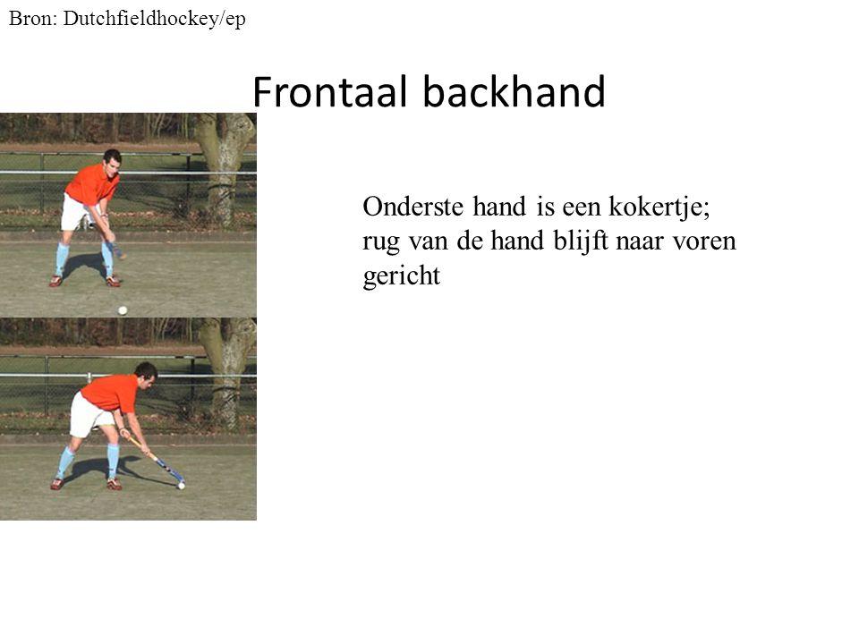 Frontaal backhand Bron: Dutchfieldhockey/ep Onderste hand is een kokertje; rug van de hand blijft naar voren gericht