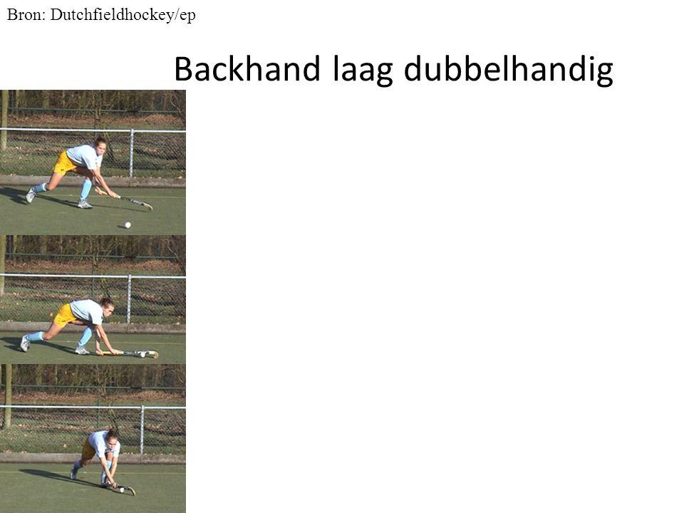 Backhand laag dubbelhandig Bron: Dutchfieldhockey/ep
