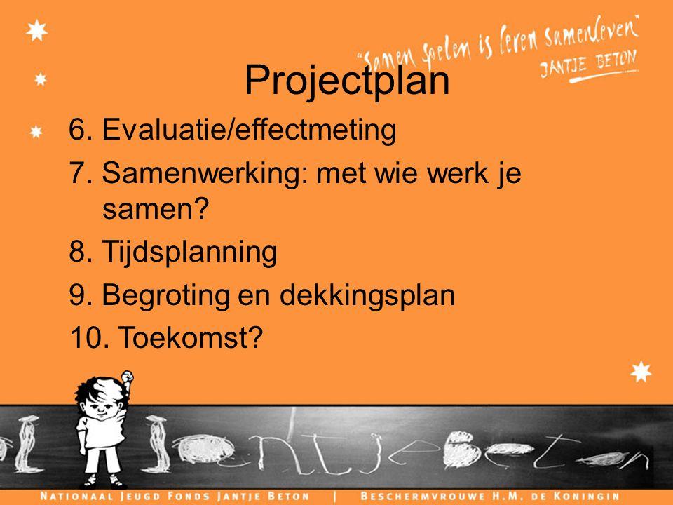 Projectplan 6. Evaluatie/effectmeting 7. Samenwerking: met wie werk je samen.