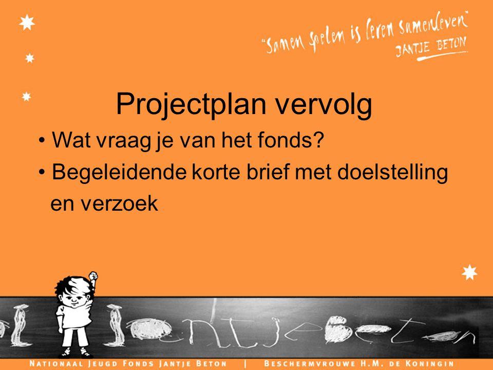 Projectplan vervolg Wat vraag je van het fonds.