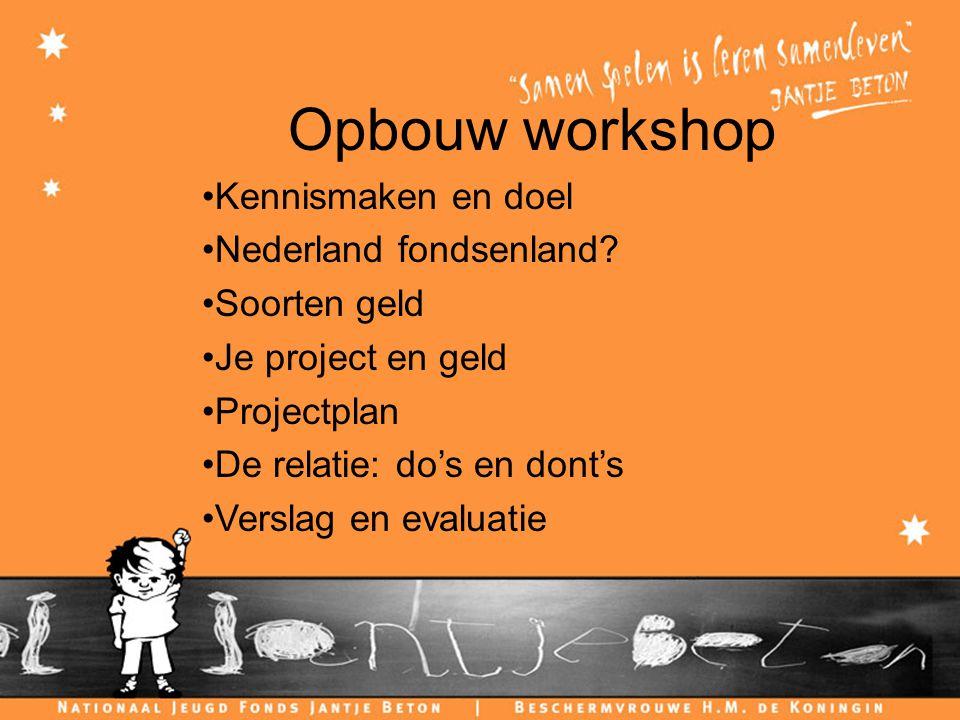 Opbouw workshop Kennismaken en doel Nederland fondsenland.