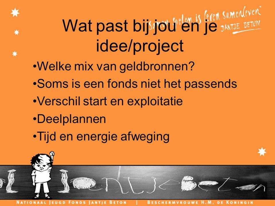Wat past bij jou en je idee/project Welke mix van geldbronnen.