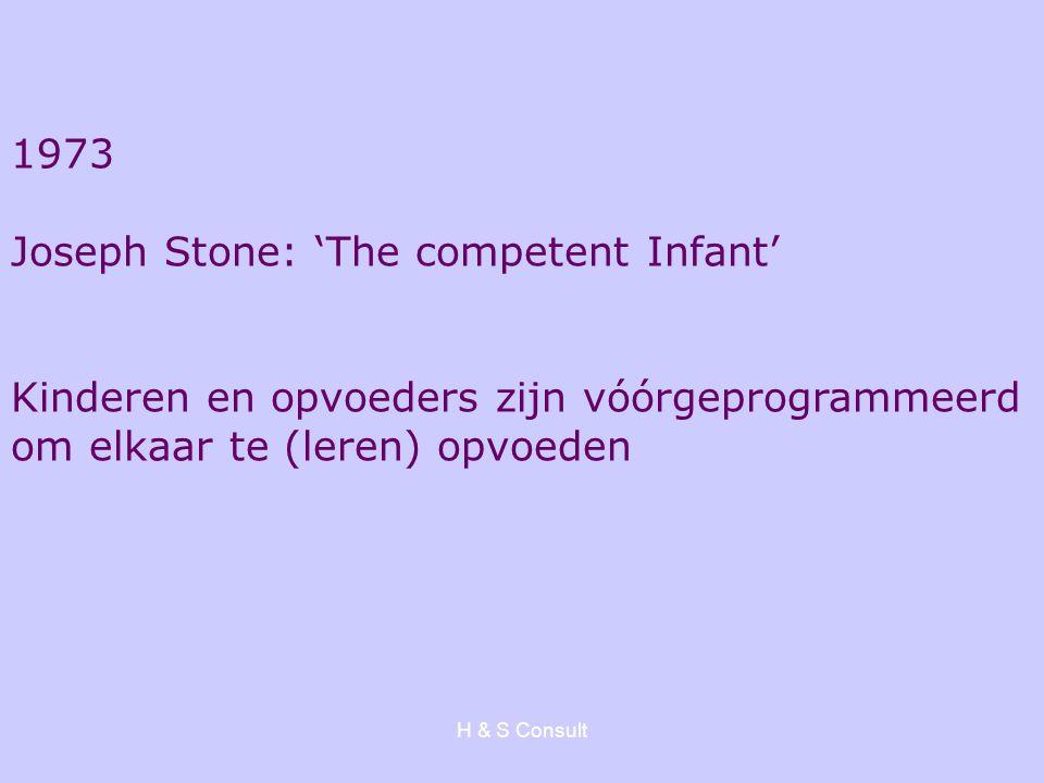 H & S Consult 1973 Joseph Stone: 'The competent Infant' Kinderen en opvoeders zijn vóórgeprogrammeerd om elkaar te (leren) opvoeden