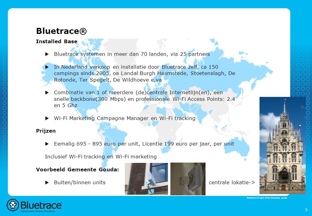 4 Bluetrace® Gemeente Purmerend  Ontwerp: Kaart Google MapsKaart Google Maps  3 centrale steunpunten (gebouwen Gemeente)  24 locale punten, toekomst: Uitbreiding water-ligplaatsen.