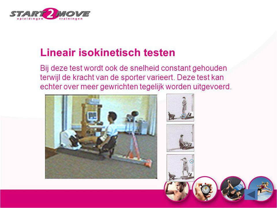 Lineair isokinetisch testen Bij deze test wordt ook de snelheid constant gehouden terwijl de kracht van de sporter varieert. Deze test kan echter over