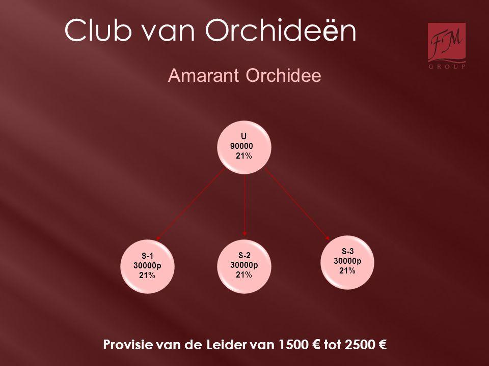 S-1 30000p 21% S-2 30000p 21% S-3 30000p 21% Amarant Orchidee U 90000 21% Provisie van de Leider van 1500 € tot 2500 € Club van Orchide ë n