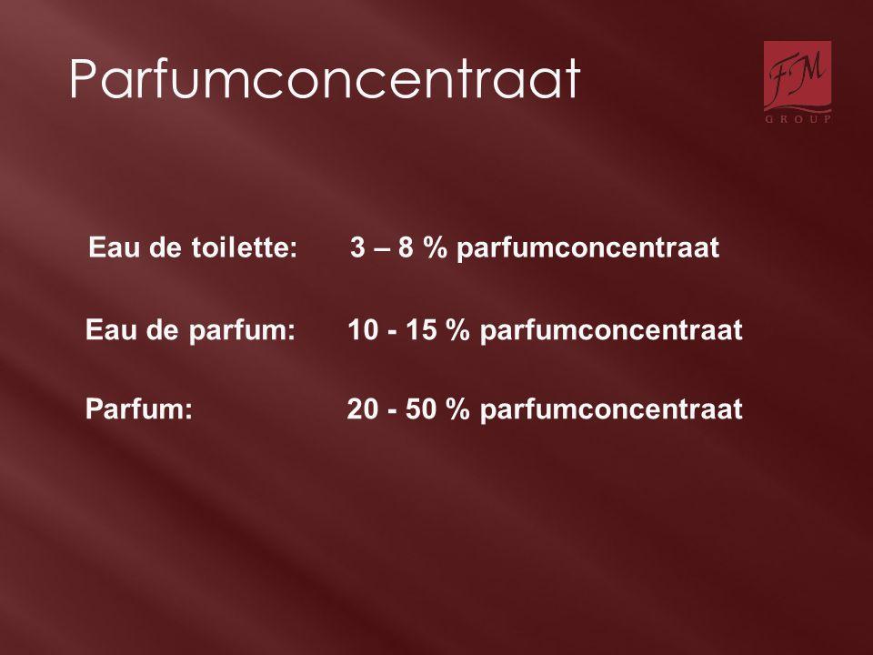 Parfumconcentraat Eau de toilette:3 – 8 % parfumconcentraat Eau de parfum:10 - 15 % parfumconcentraat Parfum:20 - 50 % parfumconcentraat