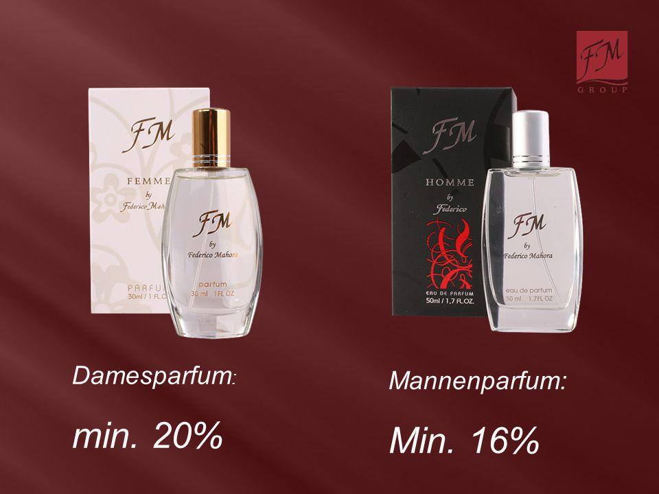 Damesparfum : min. 20% Mannenparfum: Min. 16%