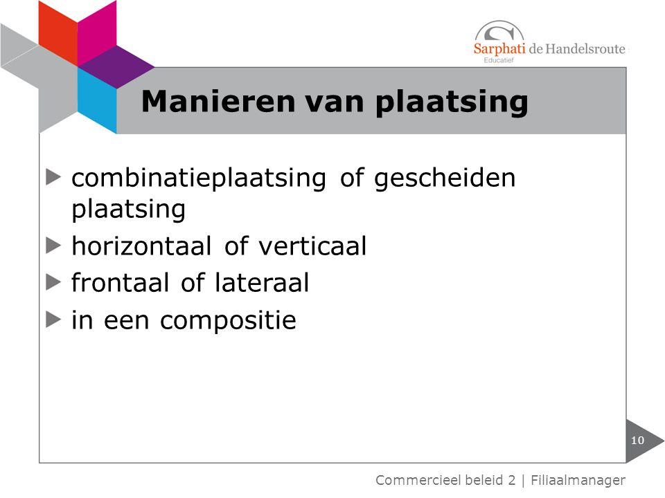 combinatieplaatsing of gescheiden plaatsing horizontaal of verticaal frontaal of lateraal in een compositie 10 Commercieel beleid 2 | Filiaalmanager M