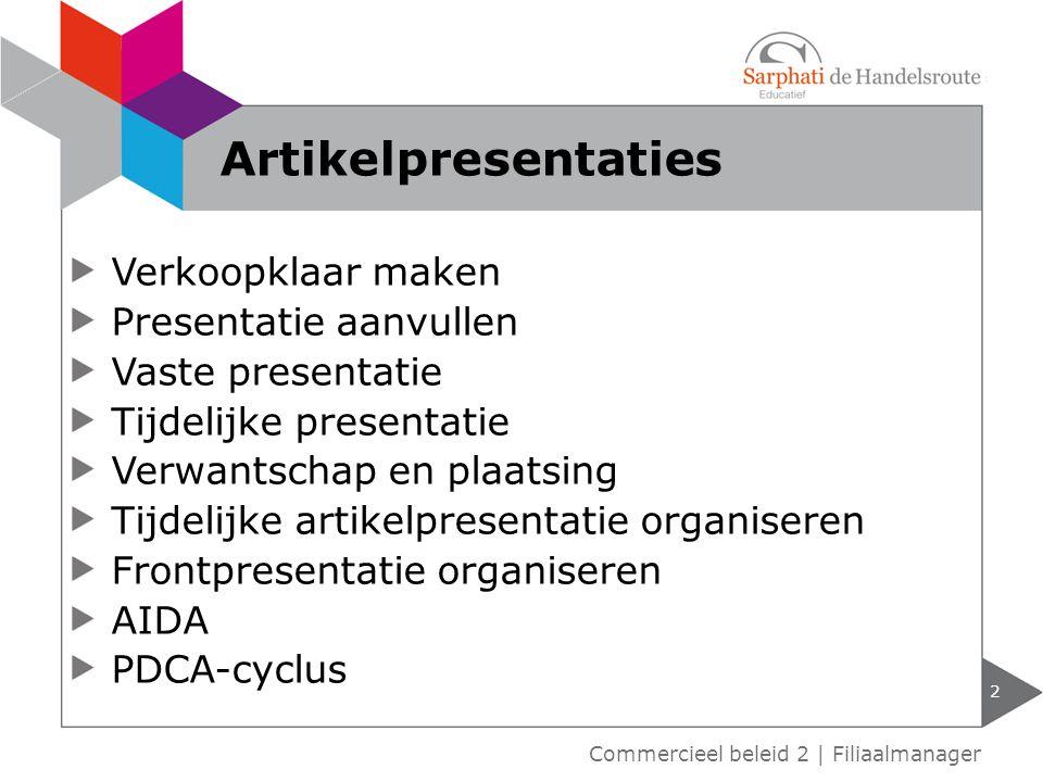 Verkoopklaar maken Presentatie aanvullen Vaste presentatie Tijdelijke presentatie Verwantschap en plaatsing Tijdelijke artikelpresentatie organiseren