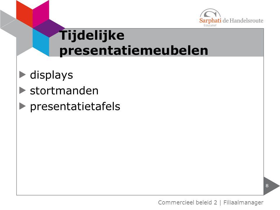 displays stortmanden presentatietafels 8 Commercieel beleid 2 | Filiaalmanager Tijdelijke presentatiemeubelen