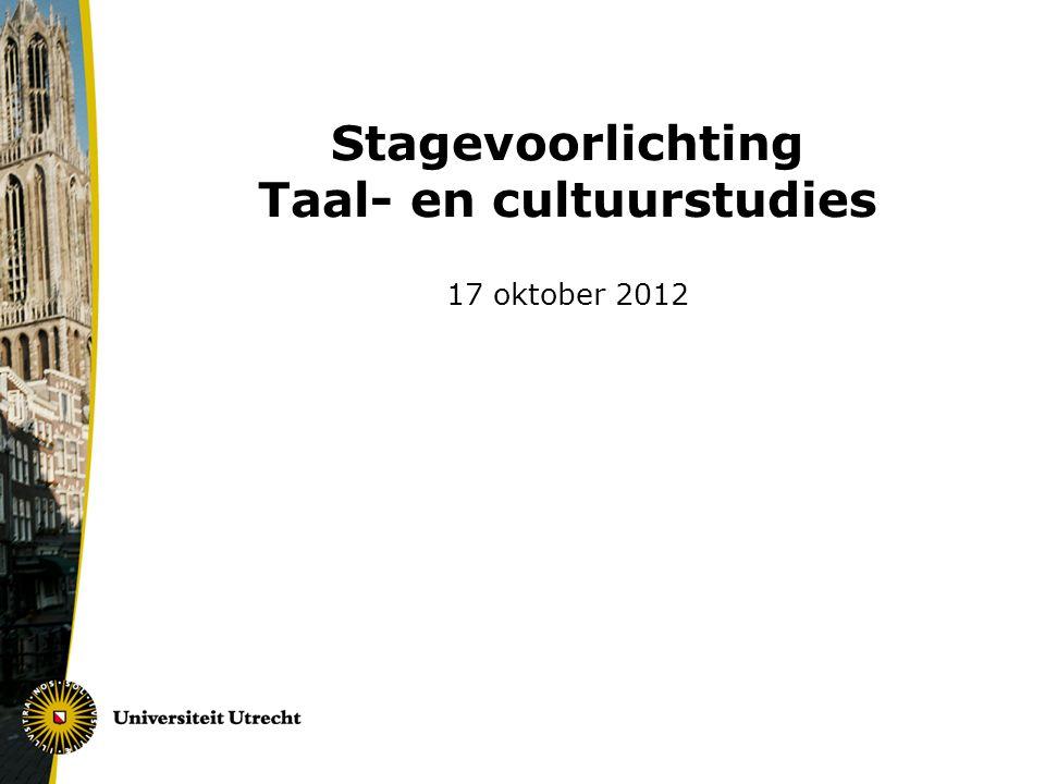 Stagevoorlichting Taal- en cultuurstudies 17 oktober 2012