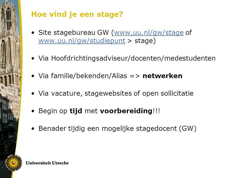 Praktische punten Site Studiepunt: Volg het stappenplan en lees de procedure in de Stageregeling (pdf) Schrijf een stagewerkplan & en vul het formulier in (Formulier stagewerkplan, het Stagewerkplan en de stageovereenkomst= inschrijving Osiris) Laat de stageovereenkomst vooraf tekenen en lever deze in (met 3 kopieën) bij het Stagebureau (Drift 10) Overleg met begeleiders/maak goede afspraken Na afronding stage: stageverslag schrijven Stagedocent geeft cijfer door > Osiris (let op datum registratie als je wilt afstuderen)