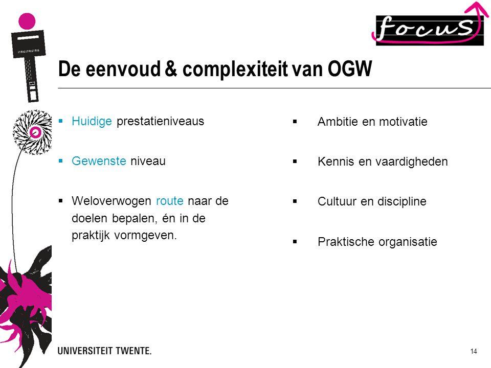 14 De eenvoud & complexiteit van OGW  Huidige prestatieniveaus  Gewenste niveau  Weloverwogen route naar de doelen bepalen, én in de praktijk vormg