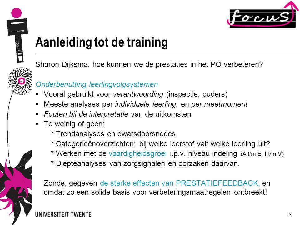 33 Aanleiding tot de training Sharon Dijksma: hoe kunnen we de prestaties in het PO verbeteren? Onderbenutting leerlingvolgsystemen  Vooral gebruikt