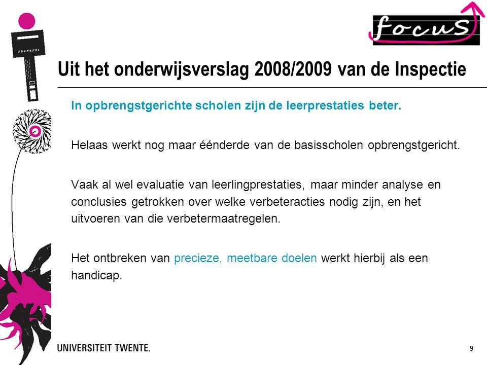 99 Uit het onderwijsverslag 2008/2009 van de Inspectie In opbrengstgerichte scholen zijn de leerprestaties beter. Helaas werkt nog maar éénderde van d