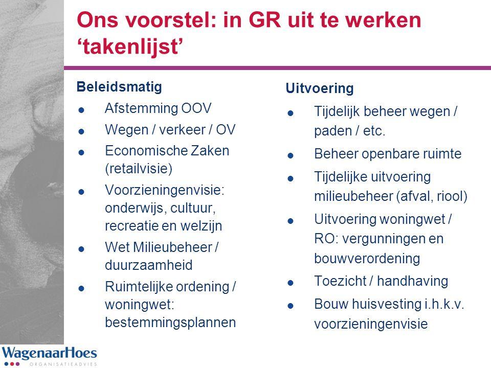 Ons voorstel: in GR uit te werken 'takenlijst' Beleidsmatig  Afstemming OOV  Wegen / verkeer / OV  Economische Zaken (retailvisie)  Voorzieningenv