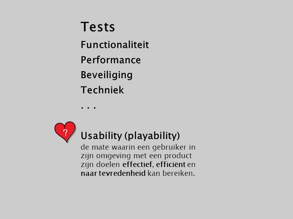 Tests Functionaliteit Performance Beveiliging Techniek... Usability (playability) de mate waarin een gebruiker in zijn omgeving met een product zijn d