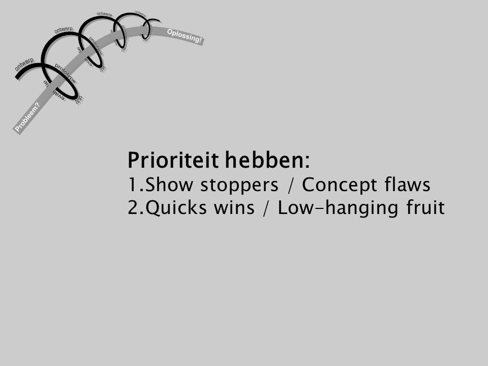 Prioriteit hebben: 1.Show stoppers / Concept flaws 2.Quicks wins / Low-hanging fruit