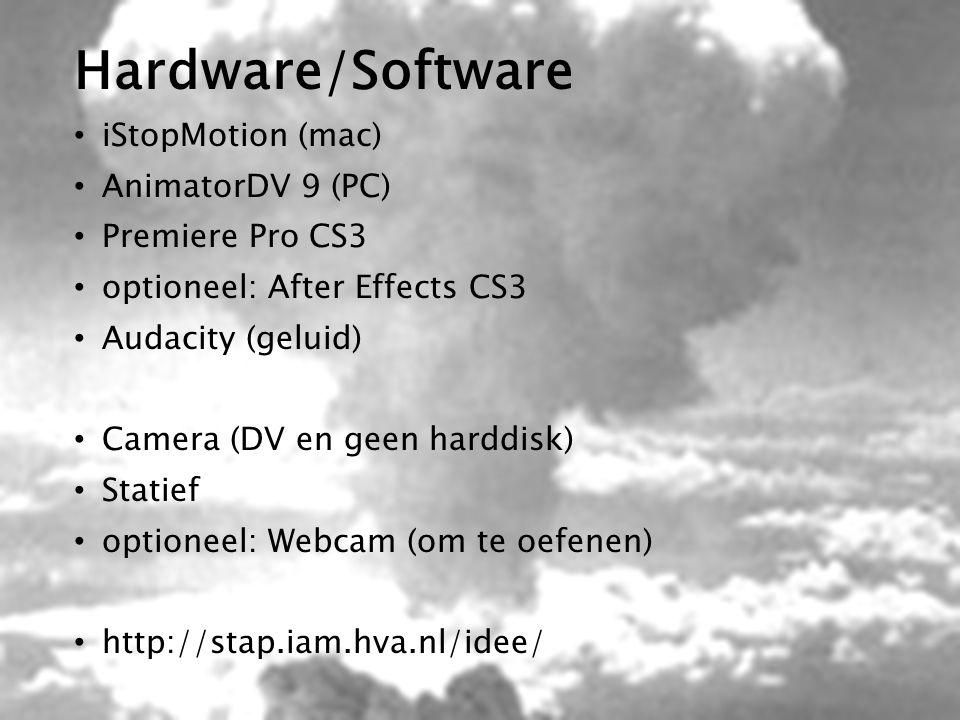 Hardware/Software iStopMotion (mac) AnimatorDV 9 (PC) Premiere Pro CS3 optioneel: After Effects CS3 Audacity (geluid) Camera (DV en geen harddisk) Sta