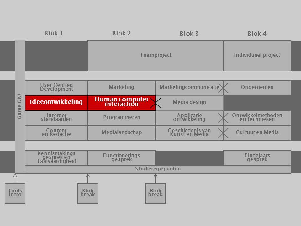 Teamproject Internet standaarden Programmeren Applicatie ontwikkeling Ontwikkelmethoden en technieken Cultuur en MediaMedialandschap Geschiedenis van