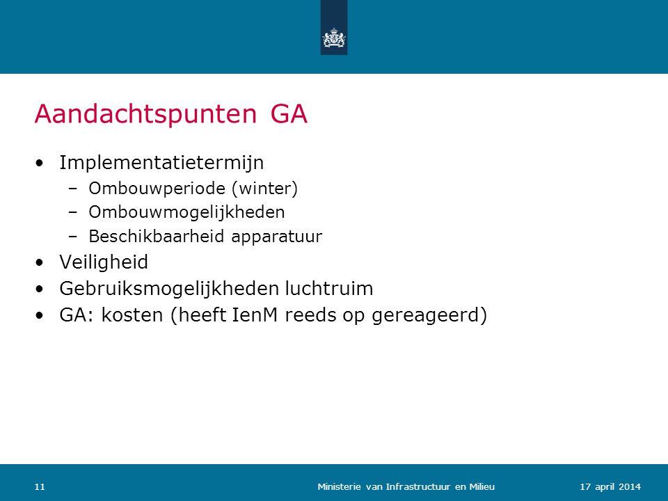 Aandachtspunten GA 1117 april 2014 Ministerie van Infrastructuur en Milieu Implementatietermijn –Ombouwperiode (winter) –Ombouwmogelijkheden –Beschikb