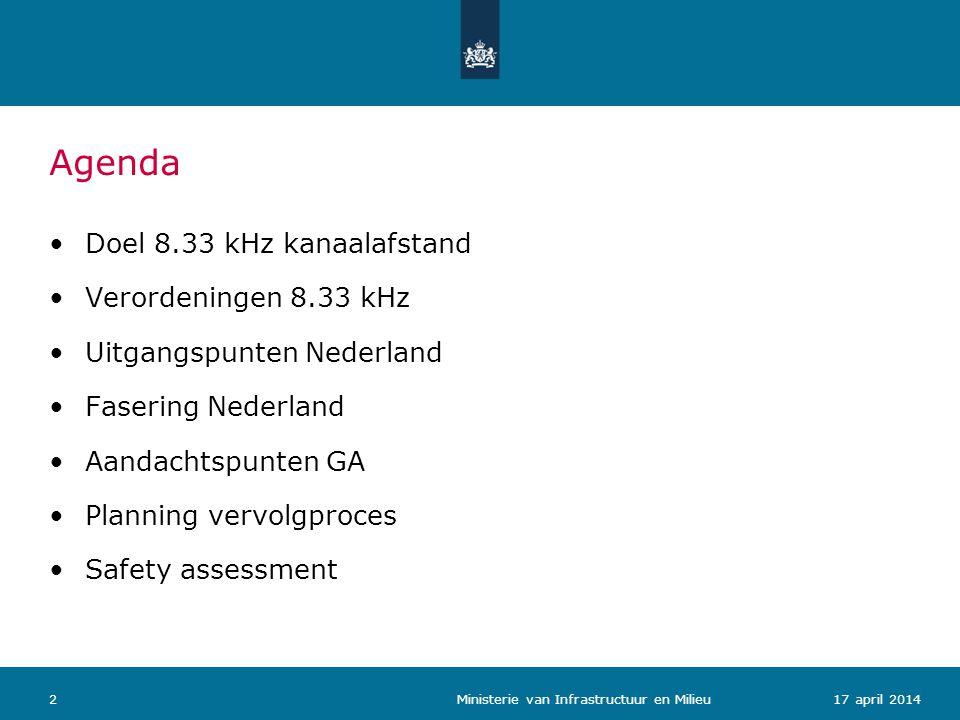Agenda Doel 8.33 kHz kanaalafstand Verordeningen 8.33 kHz Uitgangspunten Nederland Fasering Nederland Aandachtspunten GA Planning vervolgproces Safety