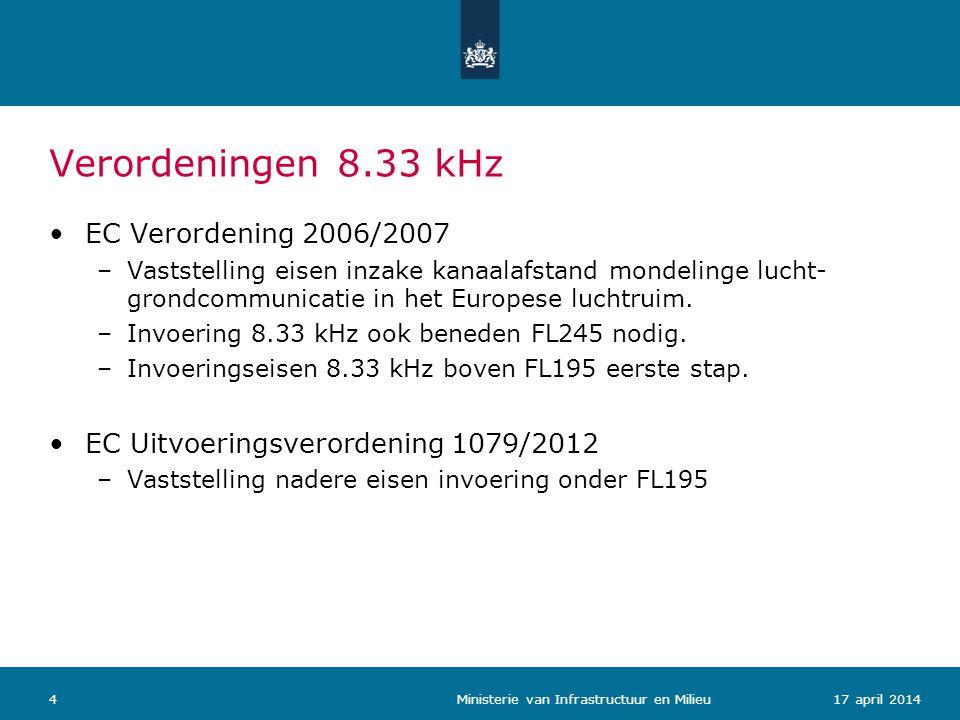 Verordeningen 8.33 kHz 517 april 2014 Ministerie van Infrastructuur en Milieu Verplichting uitrusting apparatuur (8.33/25 kHz) –Nieuwe vliegtuigen en radio (forward-fit): vanaf 1-1-2013.