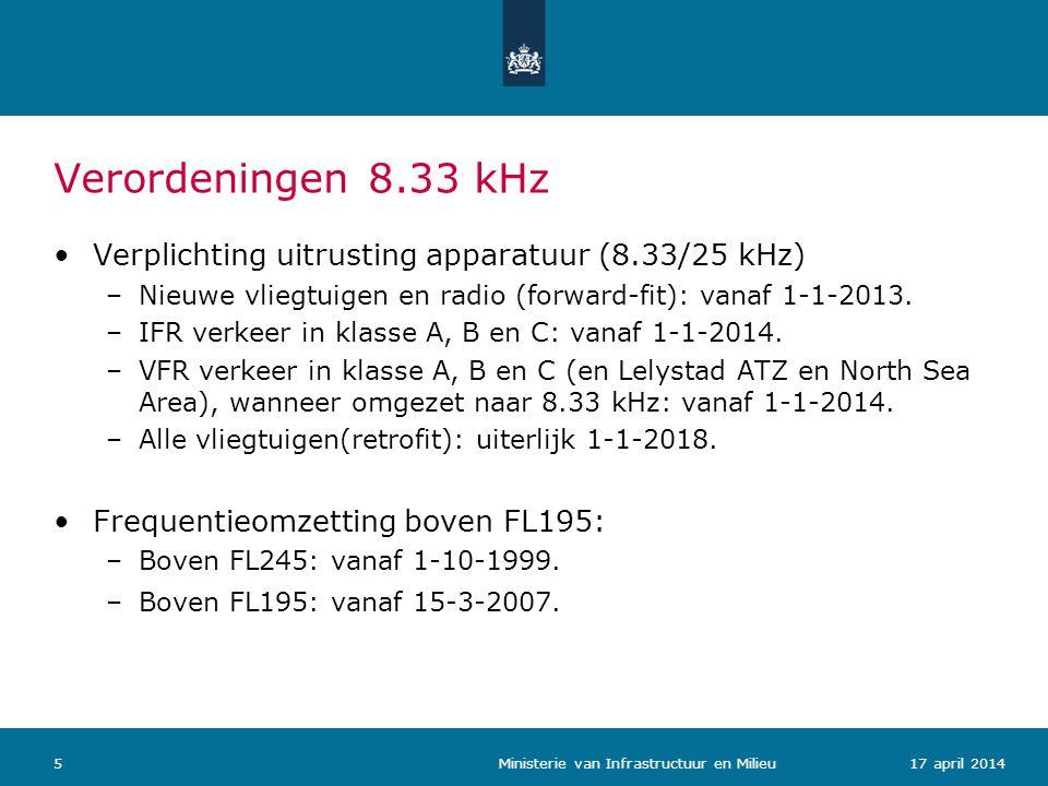 Verordeningen 8.33 kHz 617 april 2014 Ministerie van Infrastructuur en Milieu Frequentieomzetting onder FL195: –Minimaal 25% van de ACC sectoren + OPC: per 31-12-2014.