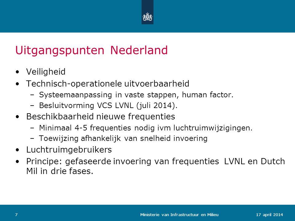 Uitgangspunten Nederland 717 april 2014 Ministerie van Infrastructuur en Milieu Veiligheid Technisch-operationele uitvoerbaarheid –Systeemaanpassing i