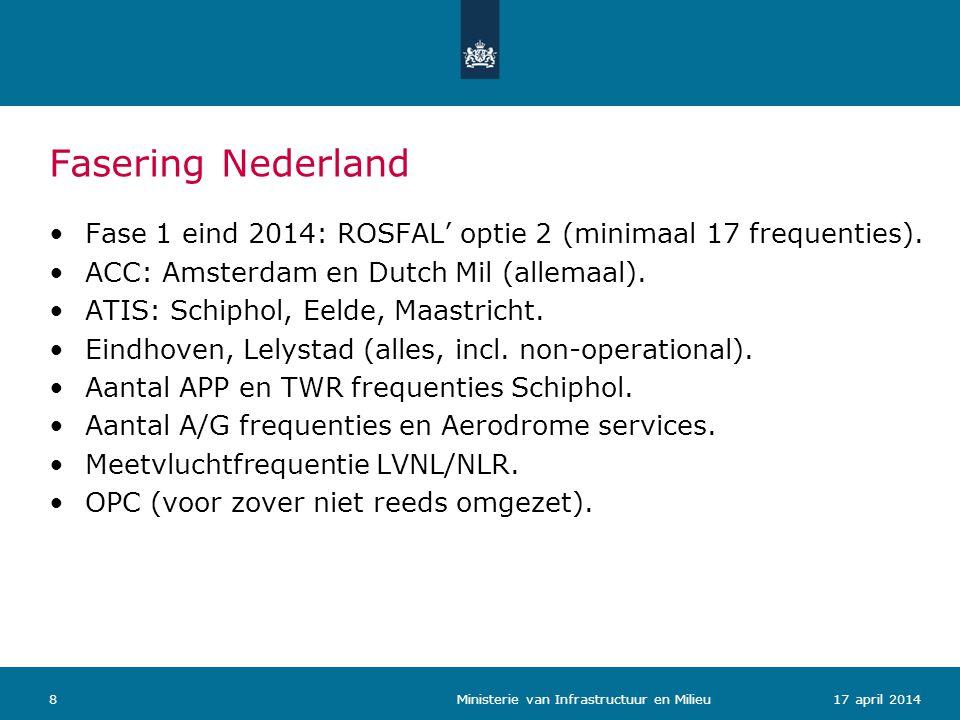 Fasering Nederland 917 april 2014 Ministerie van Infrastructuur en Milieu Fase 2: in 3 volgordelijke stappen 100% conversie frequenties LVNL en Dutch Mil.
