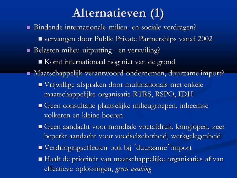 Alternatieven (1) Bindende internationale milieu- en sociale verdragen? Bindende internationale milieu- en sociale verdragen? vervangen door Public Pr